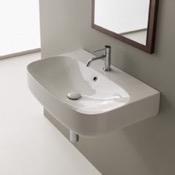 Bathroom Sink Round White Ceramic Wall Mounted Sink Scarabeo 5508