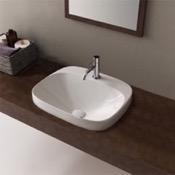 Bathroom Sink Round White Ceramic Drop In Sink Scarabeo 5511