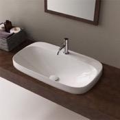 Bathroom Sink Oval White Ceramic Drop In Sink Scarabeo 5512
