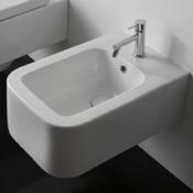 Bidet Round White Ceramic Wall Hung Bidet Scarabeo 8302