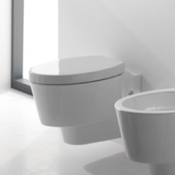 Toilet Round White Ceramic Wall Hung Toilet Scarabeo 2006