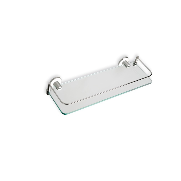 Bathroom Shelf Satin Nickel Clear Glass Bathroom Shelf 819-36 StilHaus 819-36
