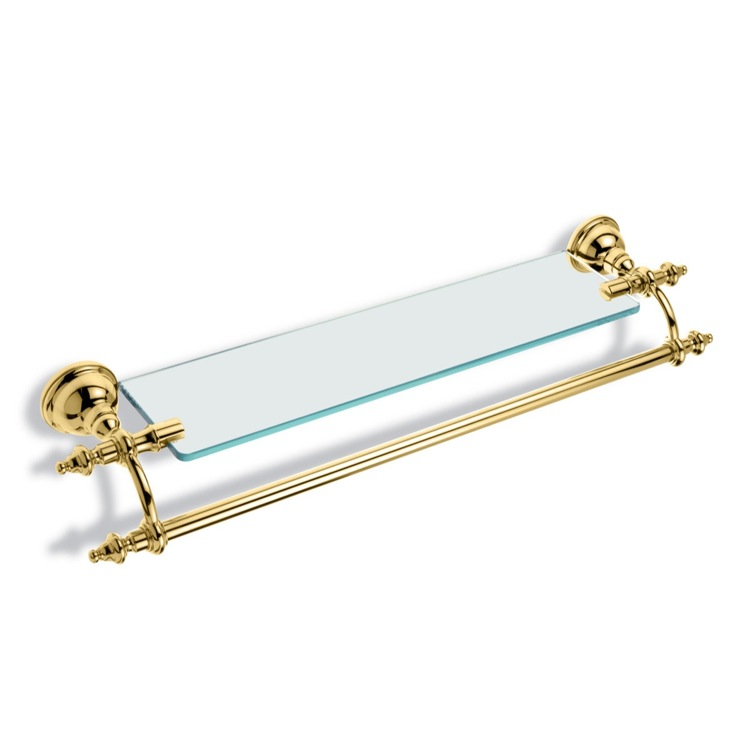 Bathroom Shelf Gold 24 Inch Bathroom Shelf with Transparent Glass Pane and Towel Bar EL33-16 StilHaus EL33-16