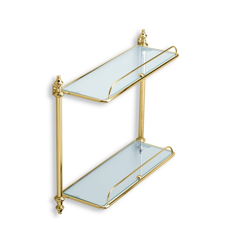 Bathroom Shelf Gold Double Glass Bathroom Shelf StilHaus EL694-16