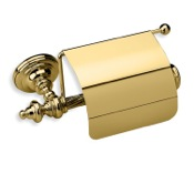 Toilet Paper Holder Gold Brass Toilet Roll Holder with Cover StilHaus G11C-16