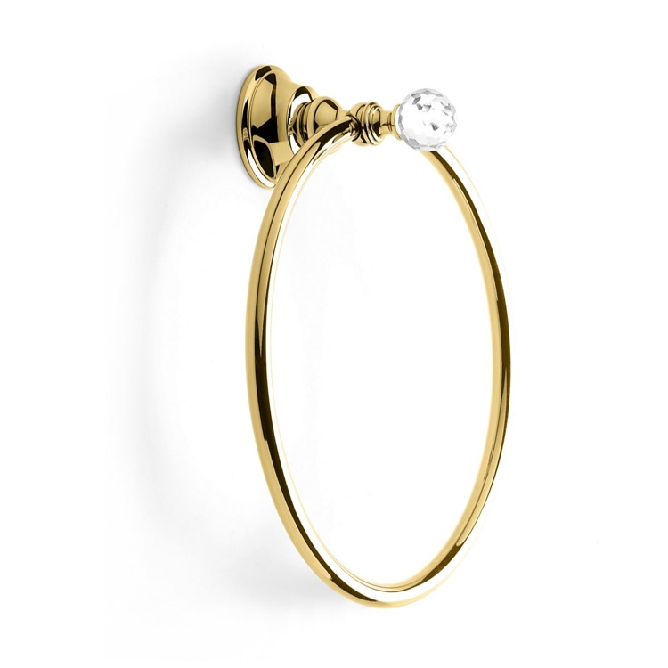 Towel Ring Gold Towel Ring with Crystal StilHaus SL07-16