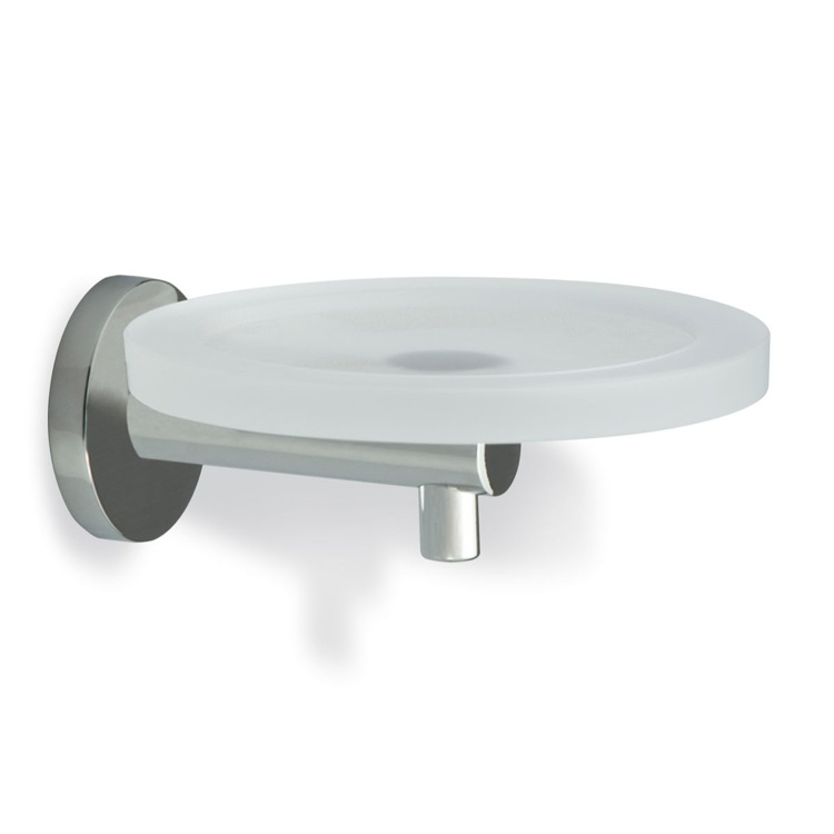 Soap Dish Satin Nickel Wall Mounted Round Frosted Glass Soap Dish with Brass StilHaus VE09-36