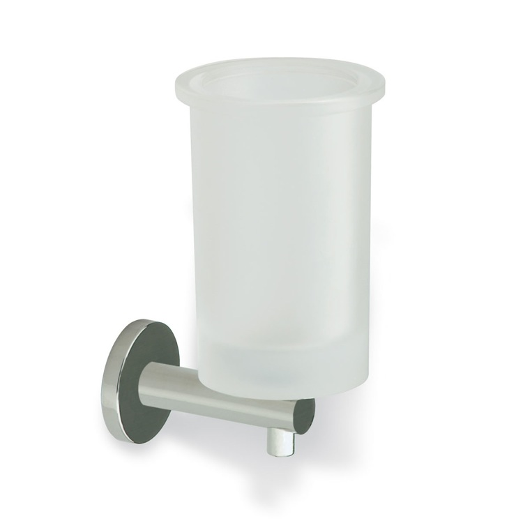 Toothbrush Holder Satin Nickel Wall Mounted Frosted Glass Toothbrush Holder with Brass StilHaus VE10-36