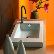 Rectangular White Ceramic Wall Mounted or Built-In Sink