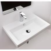 Bathroom Sink Rectangular White Ceramic Drop In or Wall Mounted Bathroom Sink Tecla 4001011