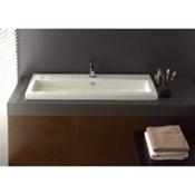Bathroom Sink Rectangular White Ceramic Drop In or Wall Mounted Bathroom Sink Tecla 4003011A
