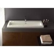 Bathroom Sink Rectangular White Ceramic Drop In or Wall Mounted Bathroom Sink Tecla 4004011A