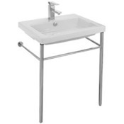 Bathroom Sink Rectangular Ceramic Console Sink and Polished Chrome Stand Tecla CAN01011-CON
