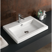 Bathroom Sink Rectangular White Ceramic Self Rimming or Wall Mounted Sink Tecla CAN01011