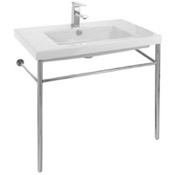 Bathroom Sink Rectangular Ceramic Console Sink and Polished Chrome Stand Tecla CAN02011-CON