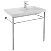Bathroom Sink Rectangular Ceramic Console Sink and Polished Chrome Stand Tecla CO01011-CON