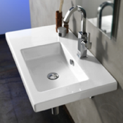 Bathroom Sink Rectangular White Ceramic Wall Mounted or Drop In Sink Tecla CO01011