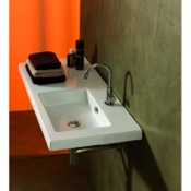Bathroom Sink Rectangular White Ceramic Wall Mounted or Built-In Sink Tecla CO02011
