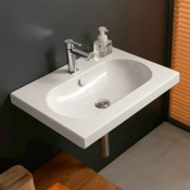 Bathroom Sink Rectangular White Ceramic Wall Mounted or Drop In Sink Tecla EDW1011