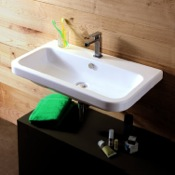 Bathroom Sink Rectangular White Ceramic Wall Mounted or Drop In Sink Tecla EL02011