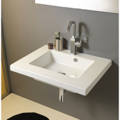 Bathroom Sink Rectangular White Ceramic Wall Mounted or Built-In Sink Tecla MAR01011