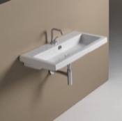Bathroom Sink Rectangular White Ceramic Wall Mounted or Self Rimming Sink Tecla 4002011