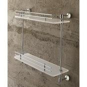 Bathroom Shelf 16 Inch Double Tier Plexiglass Bathroom Shelf With Railing Toscanaluce 1542