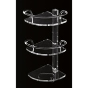Bathroom Shelf Plexiglass Triple Corner Bathroom Shelf with Rails and Hook Toscanaluce L004/TR