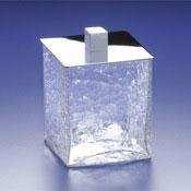 Bathroom Jar Square Crackled Crystal Glass Cotton Ball Jar Windisch 88129
