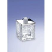 Cotton Swab Jar Free Standing Crackled Glass Square Cotton Swabs Jar Windisch 88148