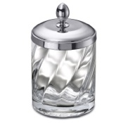 Bathroom Jar Twisted Glass and Chrome Brass Cotton Swabs Jar Windisch 88801CR