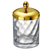 Bathroom Jar Gold Finished Twisted Glass Cotton Ball Jar Windisch 88804O