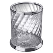 Waste Basket Chrome Bathroom Waste Bin Made From Twisted Glass Windisch 89801CR