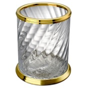 Waste Basket Twisted Glass Gold Finished Wasted Basket Windisch 89801O