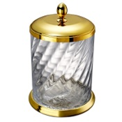 Waste Basket Waste Basket Made From Twisted Glass and Gold Brass Windisch 89802O