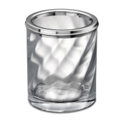 Toothbrush Holder Chrome Finished Tumbler Made From Twisted Glass Windisch 91801CR