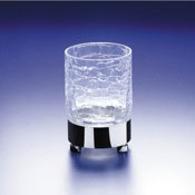 Toothbrush Holder Round Crackled Crystal Glass Tumbler Windisch 94118