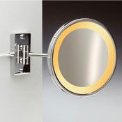 Makeup Mirror Wall Mount Brass One Face Lighted 3x, 5x Magnifying Mirror Windisch 99157/1