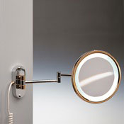 Makeup Mirror Round Wall Mounted Lighted 3x or 5x Brass Magnifying Mirror Windisch 99180