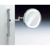 Makeup Mirror Wall Mounted Brass LED Mirror With 3x, 5x Magnification Windisch 99289