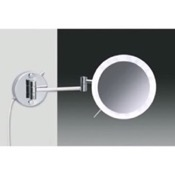 Makeup Mirror Wall Mounted Hardwired Chrome or Gold 3x or 5x Lighted Magnifying Mirror Windisch 99650/2/D