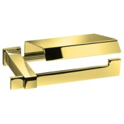 Toilet Paper Holder Toilet Roll Holder With Cover in Gold Finish Windisch 85211O