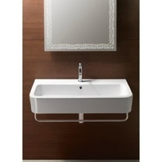 Curved Rectangular White Ceramic Wall Mounted or Vessel Bathroom Sink