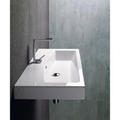 Rectangular White Ceramic Wall Mounted or Self Rimming Bathroom Sink 758211