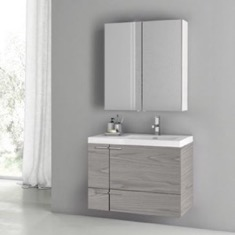31 Inch Grey Walnut Bathroom Vanity with Fitted Ceramic Sink, Wall Mounted, Medicine Cabinet Included
