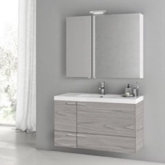 39 Inch Grey Walnut Bathroom Vanity with Fitted Ceramic Sink, Wall Mounted, Medicine Cabinet Included