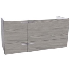 47 Inch Wall Mount Grey Walnut Double Bathroom Vanity Cabinet