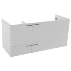 47 Inch Wall Mount Glossy White Double Bathroom Vanity Cabinet