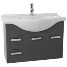 ACF PH50 32 Inch Wall Mount Glossy Anthracite Bathroom Vanity Set PH50