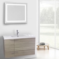 39 Inch Larch Canapa Bathroom Vanity with Fitted Ceramic Sink, Wall Mounted, Lighted Mirror Included